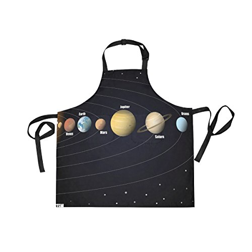 LORVIES Diagram Of Solar System Apron Unisex Kitchen Bib Apron with 2 Pockets Adjustable Neck for Cooking Baking Gardening for Women Men Chef by LORVIES