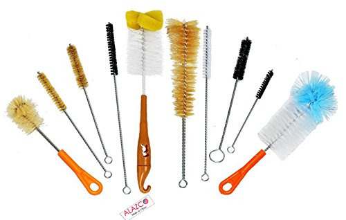 ALAZCO 10Pc Cleaning Brush Set Ultimate Kit, Baby Bottle & Tube Brushes. All Shapes & Sizes, Large, Small, Sponge, Soft, Stiff, Nylon, Natural, and Synthetic Bristles