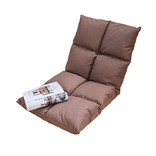 Padded Floor Chair with Adjustable 6-Position Backrest Floor Folding Gaming Sofa Chair for Meditation, Seminars, Reading, TV Watching or Gaming, Elegant Design,Brown