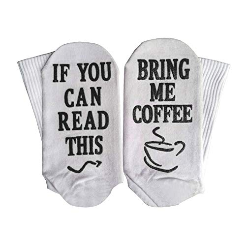 Yinpinxinmao Bring Me Coffee Funny Letter Creative Print Breathable Cotton Men Women Long/Short Socks Middle Tube Socks Short Black + White ()