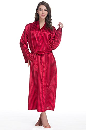 Sunrise Women's Long Classic Satin Kimono Lounge Bathrobe Robe(Large,Red Stripe)