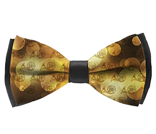 Men's Pre Tied Bow Ties for Wedding Party Adjustable Bowties(French Horns Musical Instrument)