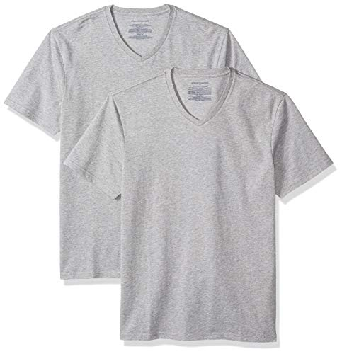 Amazon Essentials Men's 2-Pack Slim-Fit V-Neck T-Shirt, Heather Grey, Large
