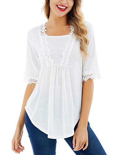 Uniboutique Womens Half Sleeve Scoop Neck Loose Casual Swing Tunic Top Shirt Blouse White S ()