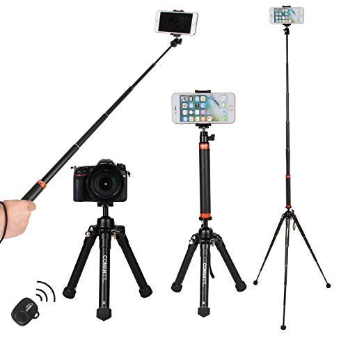 Travel tripod,Portable Lightweight Selfie Stick Tripod with Bluetooth Remote for iPhone,Dslr Cameras by COMAN