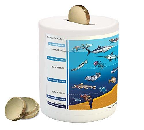 Lunarable Under The Sea Piggy Bank  Region With Shark Octopus Jellyfish Squid Predators Graphic Nature Art  Printed Ceramic Coin Bank Money Box For Cash Saving  Blue Mustard