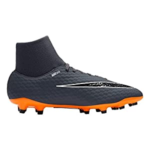 NIKE Men's Phantom 3 Academy DF FG Soccer Cleat (12 D(M) US, Dark Grey/Total Orange/White)
