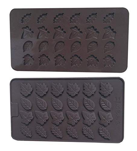 2Pack 24-Cavity Leaves Silicone Soaps Mold By Garloy, The Leaf Silicone Mold for Making Homemade Chocolate Candy Gummy Jelly (Sugar Maple Candy Molds)