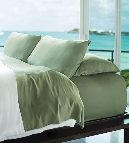 Cariloha Resort Bamboo Sheets 4 Piece Bed Sheet Set - Luxurious Sateen Weave - 100% Viscose from Bamboo Bedding (Caribbean Mint, Queen)