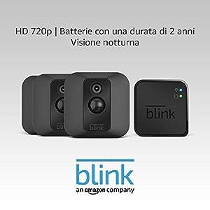 Sistema di telecamere per la sicurezza domestica Blink XT, per esterni, con rilevatore di movimento, supporto da parete, video in HD, batterie con una durata di 2 anni e archiviazione sul cloud - Sistema a 3 telecamere