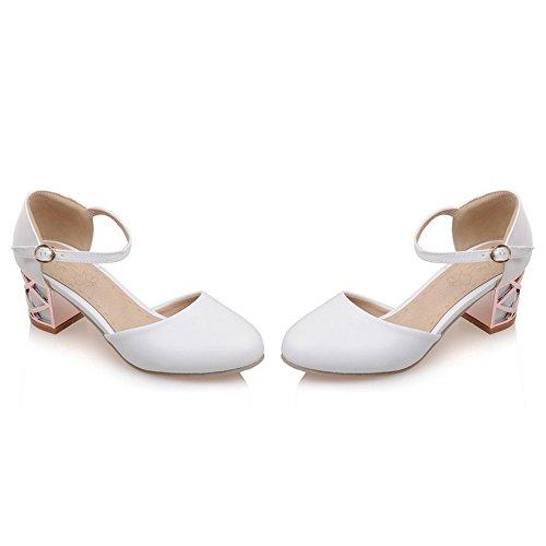 TAOFFEN Women Comfort Dating Block Heel Sandals Buckle White awSFKxqj8