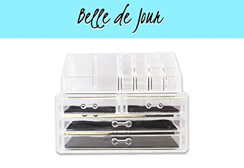 Acrylic Makeup Organizer - Clear Deluxe Case with 4 Drawers - Large Tray and Brush Stand - Perfect for All Types of Cosmetics & Jewelry Including Lipstick, Perfume, Earrings, Rings, Blush - Two Piece Cube Design Great for Countertops