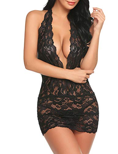 Women Lace Teddy Lingerie Outfits Deep V Halter Bodysuit One Piece Babydoll Black S