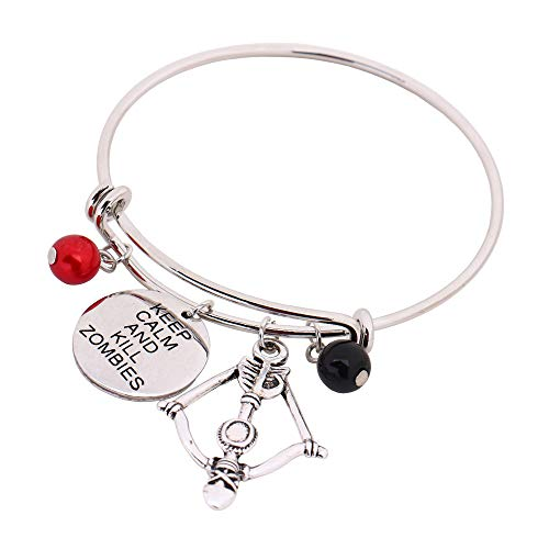 hanreshe Message Bangle Charm Expandable Wire Bangle Bracelet Popular Style Wonderful Gifts (Keep Calm and Kill Zombies) -