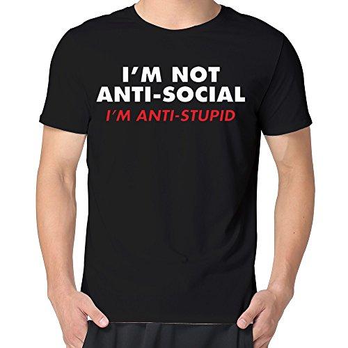 BINB Man I'm Not Anti-Social, I'm Anti-Stupid Funny T-shirt Cool (Antisocial Eagle)