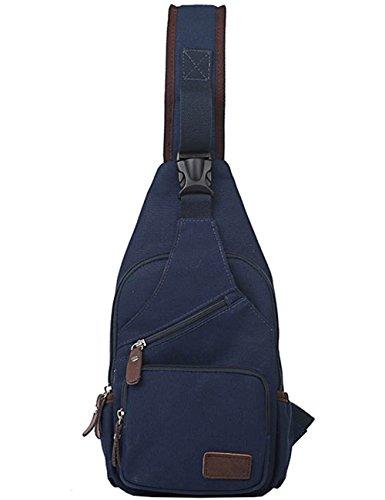 Mygreen Chest Bag Hiking Unbalance Backpack Canvas For Unisex Dark Blue