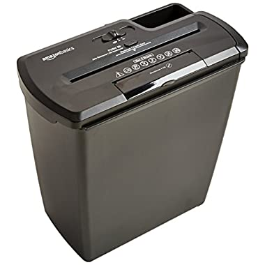 AmazonBasics 8-Sheet Strip-Cut Paper, CD, and Credit Card Shredder