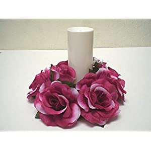 3 Candle Rings Rose Center Piece Artificial Silk Flower 4005 Fuchsia 33