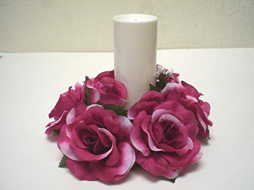 - 3 Candle Rings Rose Center Piece Artificial Silk Flower 4005 Fuchsia