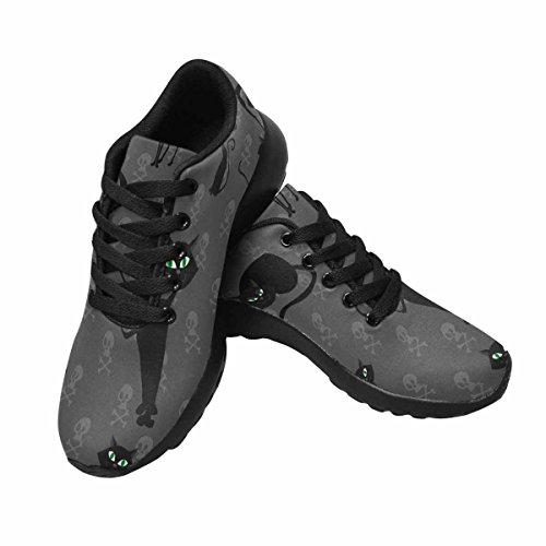InterestPrint Women's Casual Soft Sports Road Running Walking Shoes Black Halloween Cats and Skulls 9 B(M) US Cat Casual Shoes