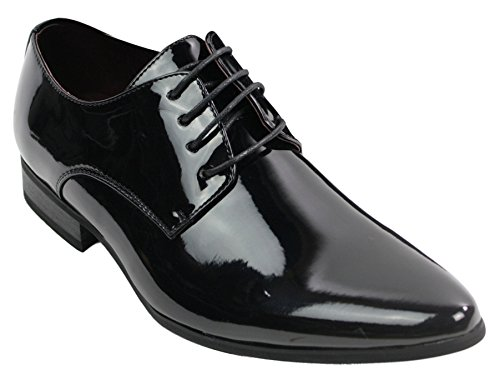Mens Laced Smart Leather Lined Shoes Office Party Wedding Italian Design Patent Shiny