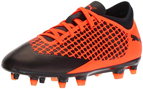 Image of PUMA Unisex Future 2.4 FG/AG Jr Soccer Shoe, Black-Shocking Orange, 13 M US Big Kid