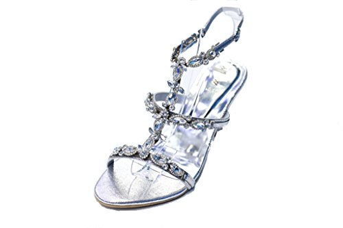 W & W Mujeres Ladies Diamante Slip On Zapatos de boda fiesta noche tacón bloque novia sandalias tamaño 3–10(san1016) plata