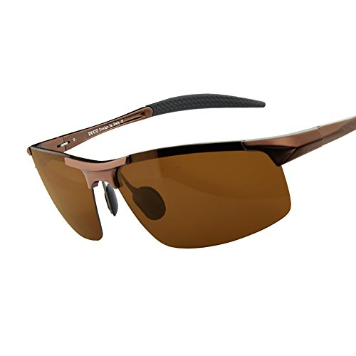 Duco Men's Sports Style Polarized Sunglasses Driver Glasses 8177S (Brown Frame,Brown Lens)