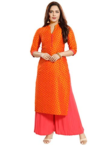 - Dream & Dzire Women's 100% Silk Orange Straight Kurti for All Plus Size and Small Size