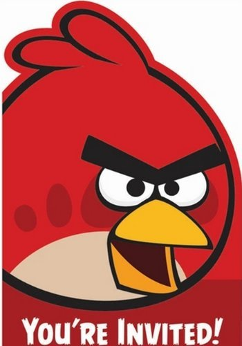 Angry Birds Party Invitations With Red Envelopes -