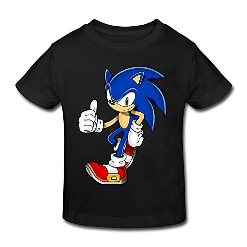 Toddler's 100% Cotton Cool Sonic The Hedgehog Funny T-Shirt Black US Size 2 Toddler