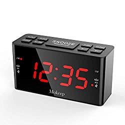 Alarm Clock Radios, Digital AM FM Alarm Radio Clock with LED Display, Dual Alarms Clock with Dimmer, Sleep Timer, Adjustable Alarm Volume, Snooze Battery Backup for Bedrooms, Outlet Powered