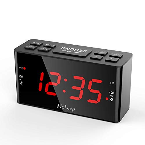 Alarm Clock Radios, Digital AM FM Alarm Radio Clock with LED Display, Dimmer, Sleep Timer, Adjustable Alarm Volume, Snooze Battery Backup for Bedrooms, Outlet Powered