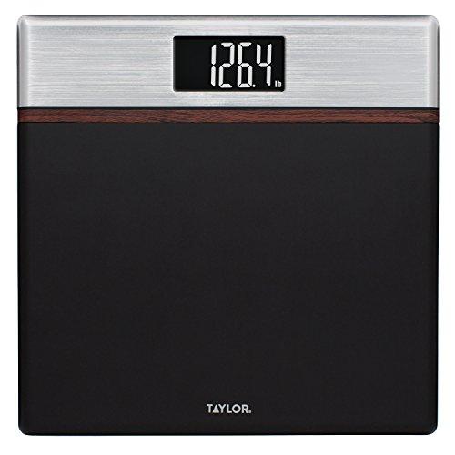 Walnut Bathroom Accessories (Taylor 440 Lb. Capacity Matte Black Digital Bathroom Scale with Walnut and Satin Metal Accents)