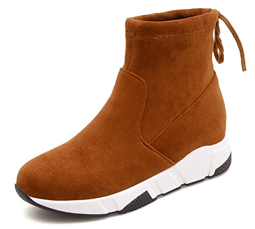 HiTime Ladies Athletic Pull On Wedges Sneakers Lace up Back High Top Ankle Boots Size 2-5.5 Yellow O8PVYP6Df