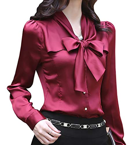 Office Tie - JHVYF Women's Bow Tie Neck Blouses Long Sleeve Casual Work Office Polyester Blouse Shirts Tops Wine Red US 10(Tag 3XL)