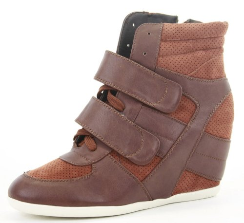 Womens Trainer High Heel Wedges Lace Up Platform Ankle Hi Tops Style Boots Shoes Size 3 - 8 Brown/Tan Two Tone