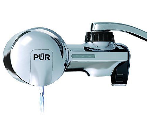 PUR Advanced Faucet Water Filter System with MineralClear Filter, Chrome, Horizontal, Indicator for Filter Status, Carbon Filter Lasts 3 Months (100 gal), Fits Standard Faucets, Easy Install, PFM400H