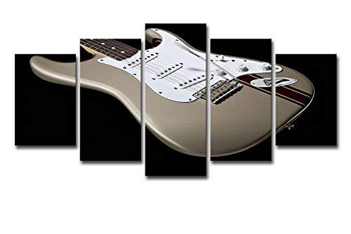 OHHCO Cuadro sobre Lienzo Decoración para El Hogar Sala De Arte De La Pared Marco HD Imprime Fotos 5 Piezas Guitarra Eléctrica Lienzo Pintura Instrumento ...