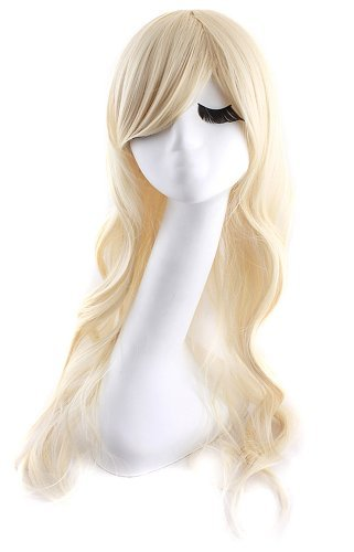 MapofBeauty Mixed Blonde/ Light Blonde Long Wave Wig Charming Curly Costume Wig (Body Wave)