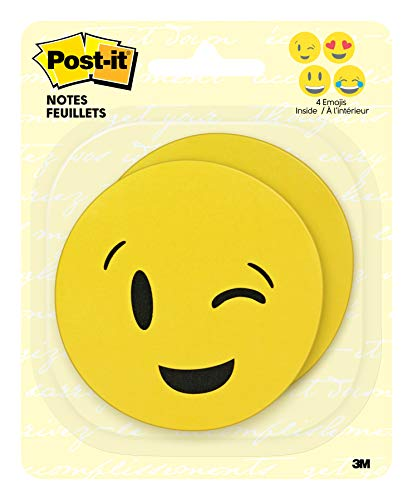 3m Design Fun - Post-it Printed Notes, 3 in x 3 in, Emoji designs, 4 alternating faces, 2 Pads/Pack, 30 Sheets/Pad (BC-2030-EMOJI)