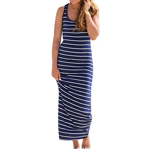 Women Dress,Haoricu Women Sleeveless Striped Loose Long Beach Indoor Casual Sundress (XXL, Blue)