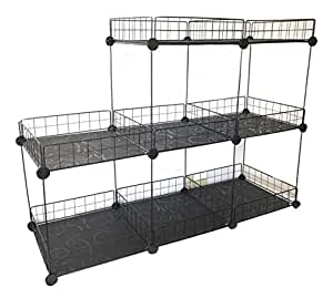 aleko easy assemble iron grid wire modular shelving and storage cubes home kitchen. Black Bedroom Furniture Sets. Home Design Ideas