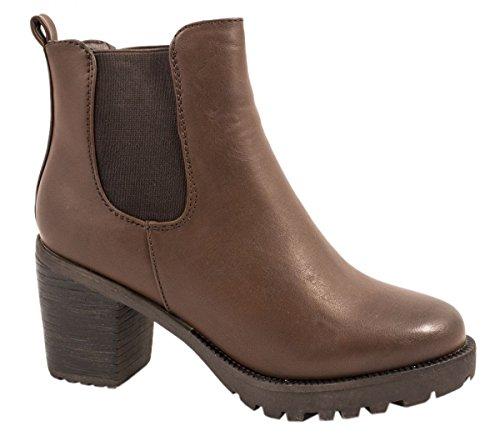 Elara Damen Chelsea Stiefel | Bequeme Stiefelette Profilsohle | Plateau Chelsea Boots Braun 2 New