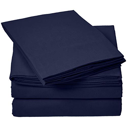 - AmazonBasics Everyday Flannel Bed Sheet Set - California King, Navy Blue