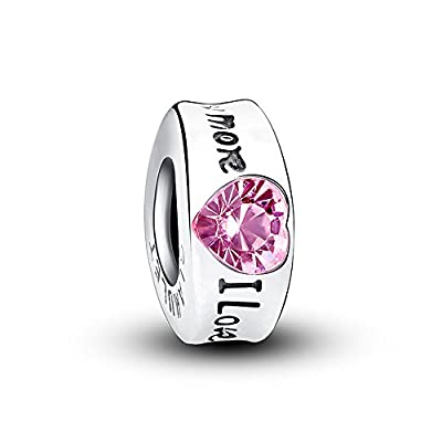 "Glamulet 925 Sterling Silver ""I Love You More"" Cuff Pink Crystal Bead Charm Fits for Bracelet by Glamulet"