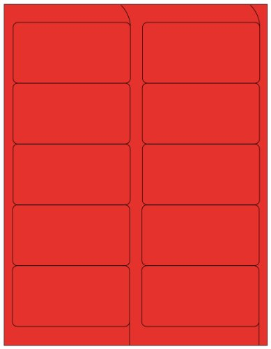 Compulabel 312175 Fluorescent Red Address Labels for Laser Printers, 4 x 2 Inch, Permanent Adhesive, 10 per Sheet, 100 Sheets per Carton