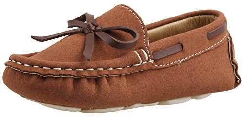 SKOEX Boy's Girl's Suede Slip-on Loafers Oxford Shoes US Size 10.5 Brown