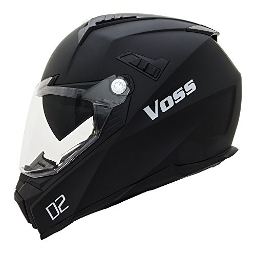 Voss 601 D2 Dual Sport Helmet with Integrated Sun Lens and Ratchet Quick Release System - Large - Matte Black by Voss Helmets (Image #3)