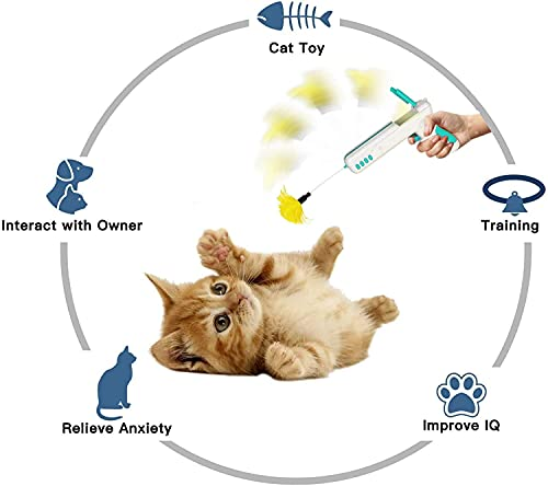 N&J Kelivi Cat Toy Gun,Interactive Cat Toys and Rebound Gun Toys for Kitten Cat Teaser Toys with Ball and Feather for Entertainment and Exercise Cat Toys for Indoor Cats.(Blue)
